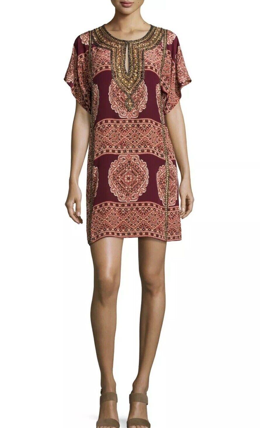 ️NWT  Gorgeous Calypso St Barth BRAMA Djellaba Silk Beaded Caftan Kleid XS  498