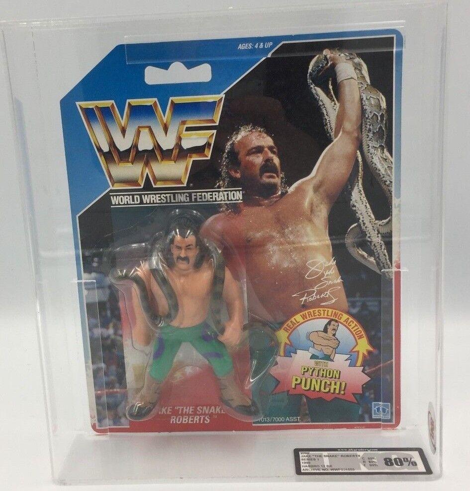 WWF Hasbro JAKE SNAKE Roberts Series 1 1990 Carded Figure-UKG not AFA 80% GRADE