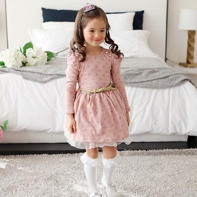 Kids Girls Long Sleeve Dress Tops School Princess Fancy Causal Clothing Costume