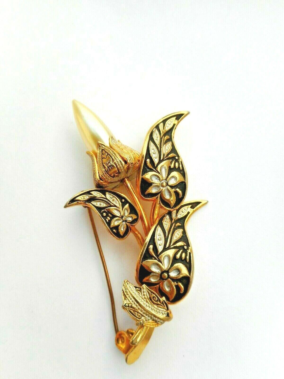 Stunning Vintage Spain Damascene Gold Tone Ornat… - image 1