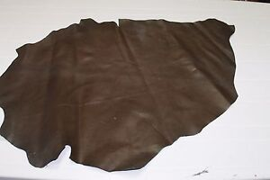 Italian strong Goatskin leather skin hide remnant BROWN 3+sqf #A1781