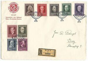 Austria-Stamp-day-registered-letter-12-5-1937-Vienna-1st-day-cover-Scott-B156-64