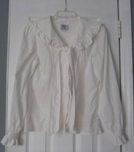 1980s Laura Ashley White Large Ruffled Collar Fron
