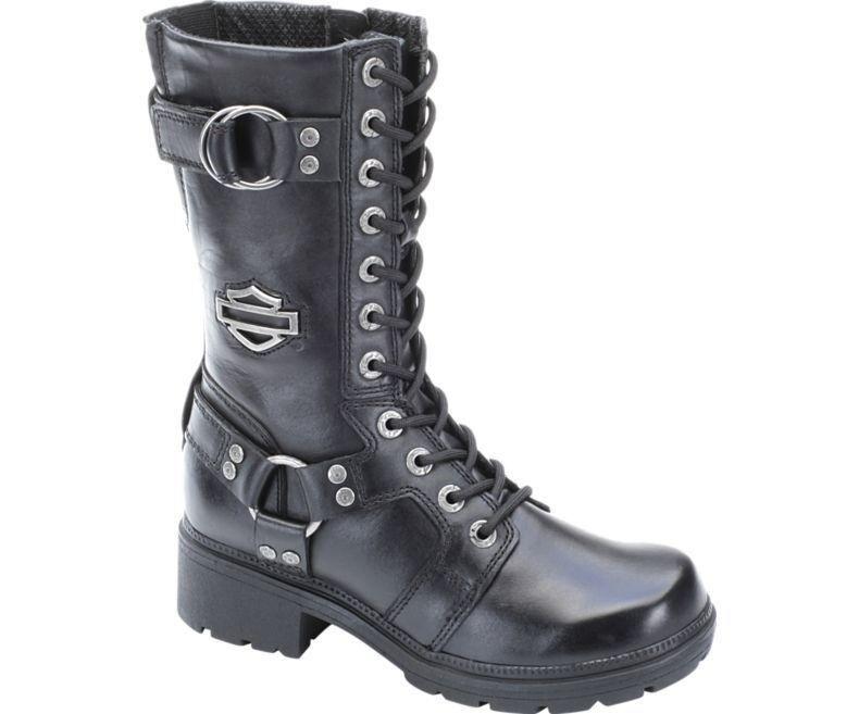 Women's Harley Davidson Eda Lace Up Full Grain Leather Combat Boots Black D83736