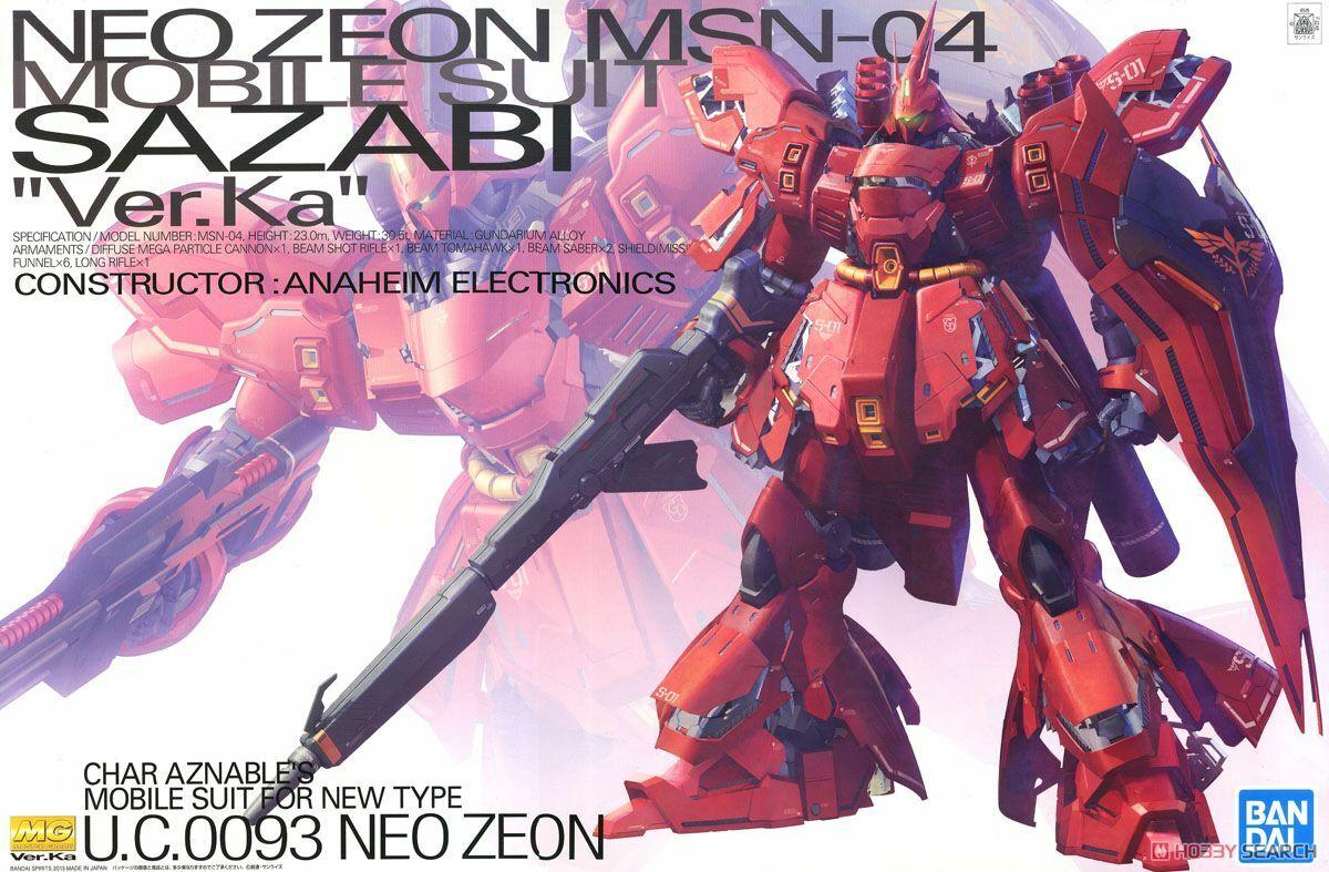 GUNDAM MG Master  Grade Sazabi MS-04 Ver. KA 1 100 modellololo Kit Gunpla Beai  il più economico