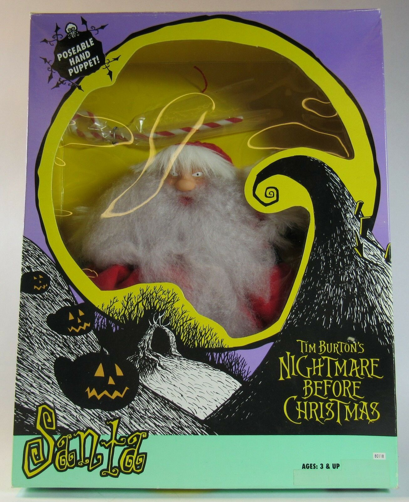 1993 Hasbro A Nightmare Before Christmas SANTA Poseable Hand Puppet New In Box