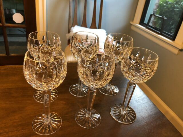 "New Vintage Waterford Crystal Lismore 6oz Wine Hock Glasses 7 3/8""High -Set of 6"