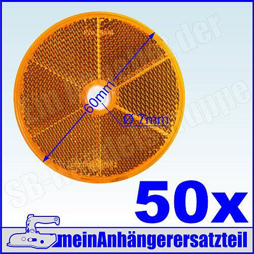 50x Rückstrahler Katzenauge runder Strahler Seitenstrahler rund 60mm gelb 50x