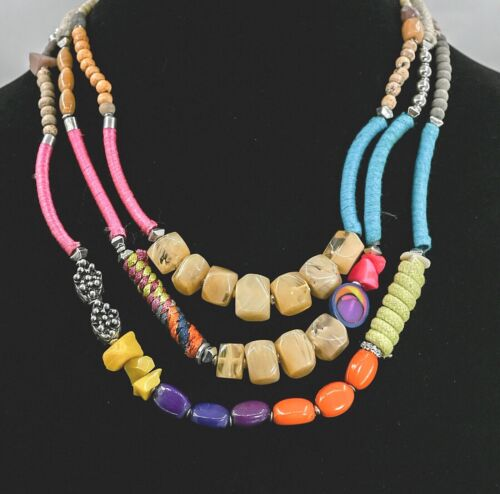 MOVING SALE Vintage MOD Eclectic Fun Multy-Color Beaded Necklace  Retro Necklace