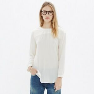 Madewell-White-100-Silk-Quilted-Long-Sleeve-Blouse-Shirt-Top-Size-Large