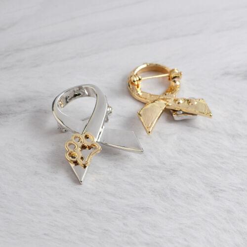 Fashion Jewelry Gold//Silver Animal Paw Print Ribbon Brooch Pin Dog Cat Pet Lover