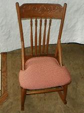 Oak Carved Sewing Rocker / Rocking Chair  (R162)