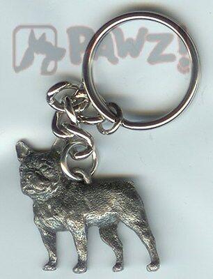 BULLDOG English Bull Dog Fine Pewter Keychain Key Chain Ring Fob