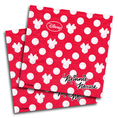 20 Disney Minnie Mouse Classic Red Polka Dots Party 33cm Paper Napkins PA