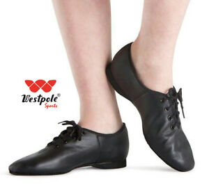 WESTPOLE-JAZZ-DANCE-SHOES-Black-Leather-TAP-DANCE-pumps-irish-ballet-shoe-pointe