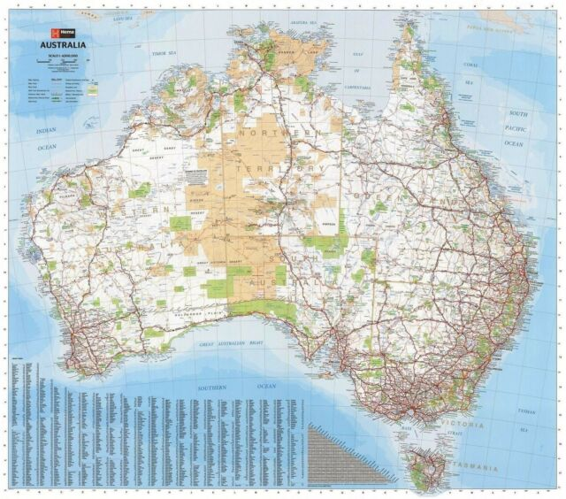 (UN-(LAMINATED) AUSTRALIA MAP POSTER (87X100CM) WALL CHART PICTURE PRINT NEW ART