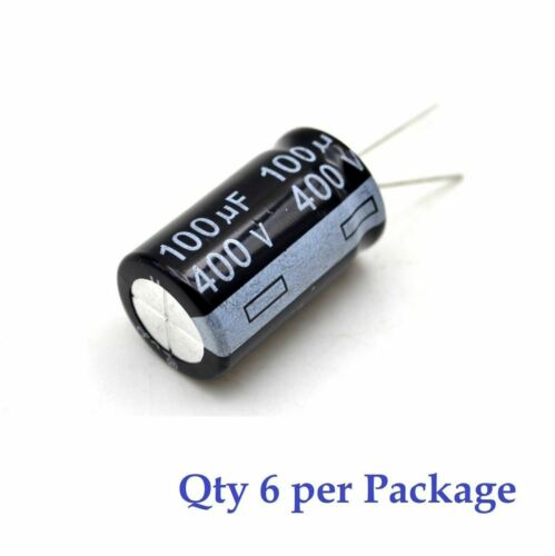 6 Pieces 100uF 400v Electrolytic Radial Lead Capacitor