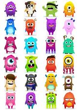 24 Mixed Dojo Monsters Large Sticky White Paper Stickers Labels New