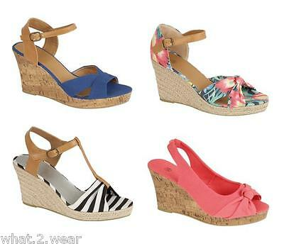 NEW LADIES WEDGE SANDAL FLORAL STRIPE VIBRANT COLOURFUL CASUAL HOLIDAYS SUMMER