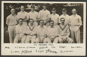 Postcard-Middlesex-County-Cricket-Team-and-replica-autographs-RP-published-Lords