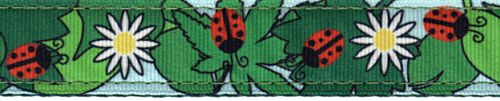 Country Brook Design® 1 Inch Ladybugs Picnic Ribbon on Green Nylon Webbing 5 Yd