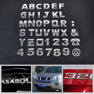 40-3D-Coche-Bricolaje-Metalico-letra-del-alfabeto-numero-Emblema-Insignia-Calcomanias-Pegatinas