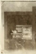 c1930s? RPPC; Windsor Gas Range Stove Top Oven Tea Kettle Kitchen Interior