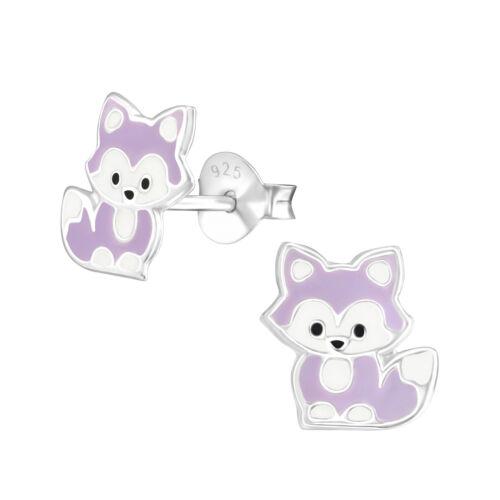 925 Sterling Silver Cute Light Purple Baby Fox Animal Kids Girls Stud Earrings