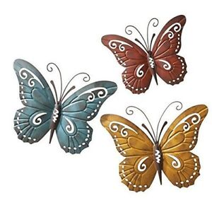 Details About 3 Pc Metal Butterfly Wall Art Set Fence Sculptures Outdoor Patio Deck Home Decor
