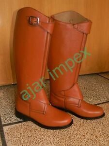 Riding Men Horse Boots Long Tall Polo Ridding Leather Real Zipper nEv1xRx