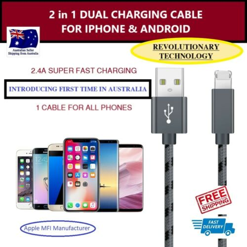 2 in 1 New Lightening cable for iphone 5678X samsung & android models