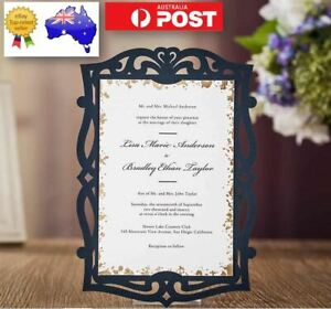 Details About 10x Navy Blue Laser Cut Wedding Invitation Card W Envelop Bulk Disc Apply