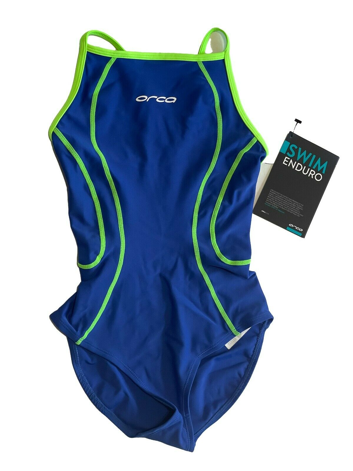 Orca Womens XS 8 String Back Swimsuit Enduro One Piece Blue Green UPF 50