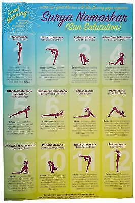 laminated wake up with surya namaskar yoga sun salutation