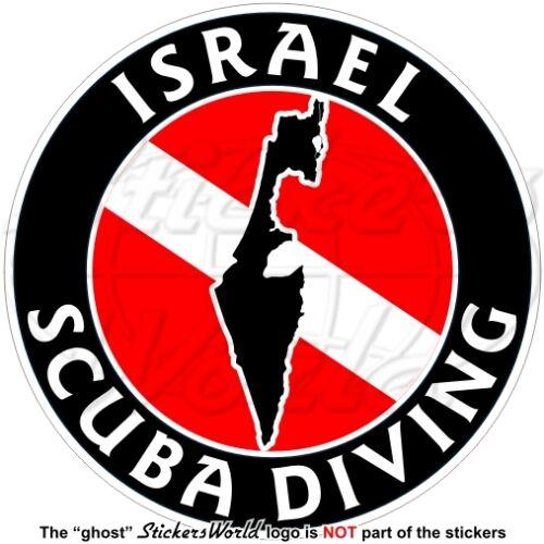 "4/"" Circular Sticker Decal ISRAEL SCUBA DIVING Flag-Israeli Map Shape 100mm"