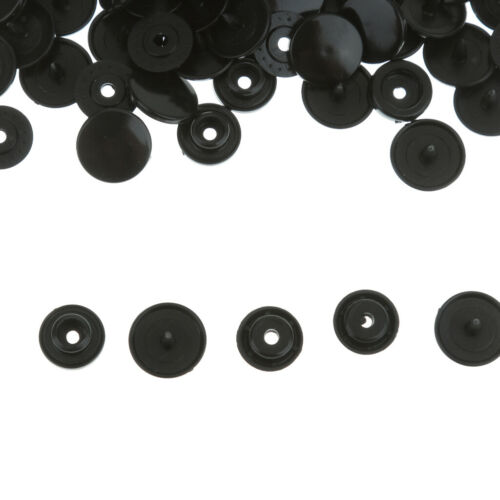 100 Ensembles Boutons T5 Mousquetons De Résine Fixation Poppers 12.4mm Noir