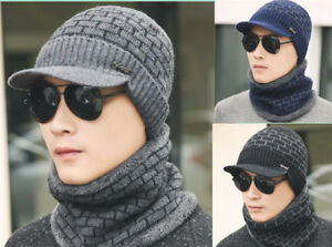 111824c647c61 2Pcs Men Women Winter Warm Knit Hat Ski Visor Fleece Outdoor Beanie ...