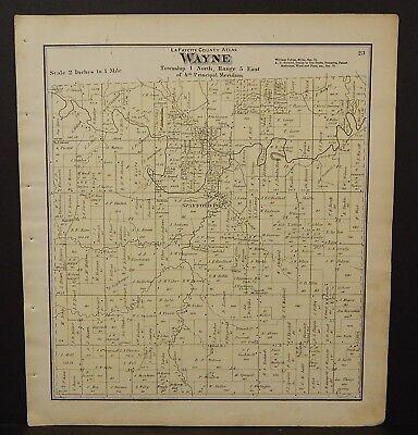 North America Maps Maps, Atlases & Globes Wisconsin La Fayette County Map Wayne Township 1874 J24#40