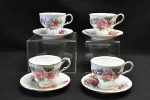 Paragon-A2681-8-Green-A2674-6-Blue-Floral-Set-of-4-Cups-amp-Saucers-Blemish