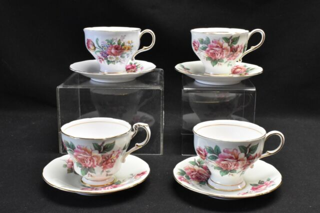 Paragon A2681/8 Green A2674/6? Blue Floral Set of 4 Cups & Saucers (Blemish)