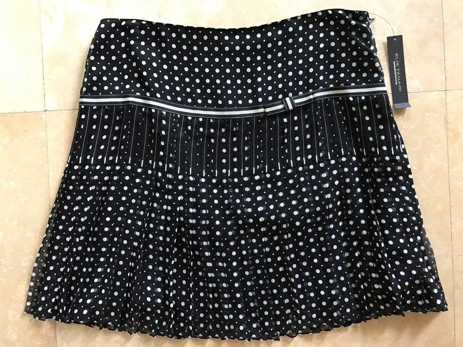 NEW  Elie Tahari  198 Women's Polka Dot Pleated Mini Skirt Silk Lined Size 8