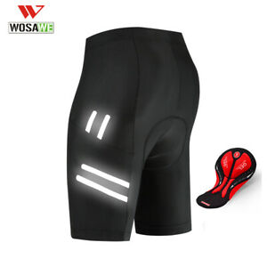 WOSAWE-Men-039-s-Cycling-Shorts-Bicycle-3D-Padded-MTB-Bike-Half-Pants-Riding-Black