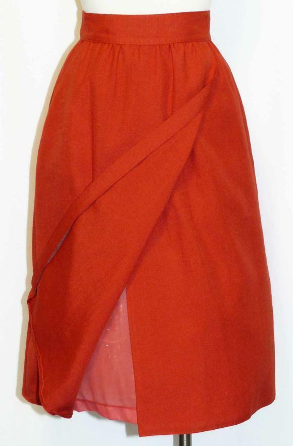 RED  WRAP AROUND Women German SUMMER A Line Straight Dress Suit SKIRT   42 8 S