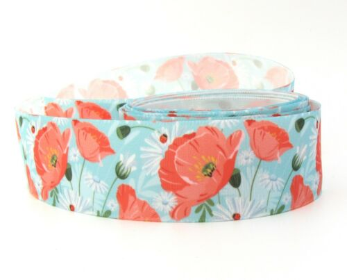 """25mm 1/"""" Vintage Floral Flower Shabby Chic Satin Ribbon Spring Eco Quality"""