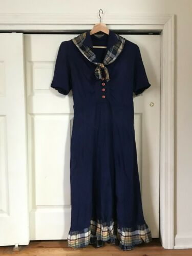 1940s Navy Rayon Crepe Dress MED