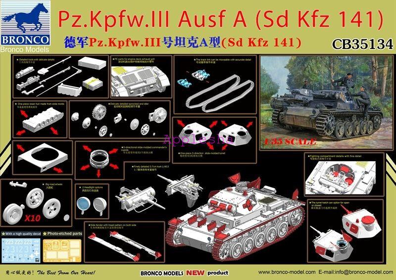 Bronco 1 35 35134 Pz.Kpfw.III Ausf A(Sd.Kfz.141)