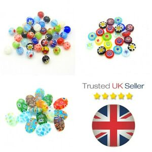 Millefiori-Glass-Beads-Mixed-Colours-Round-Mosaic-Flat-Oval-Jewellery-Craft-ML