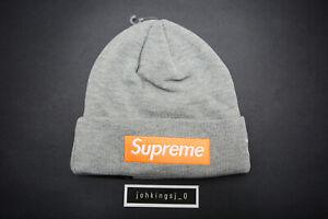 Supreme x New Era Box Logo Beanie Light Gray//Orange FW17