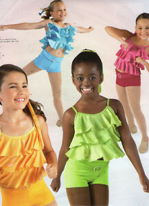 NWT-Jazz-Hiphop-ruffled-foil-camisole-top-booty-shorts-w-belt-4-colors