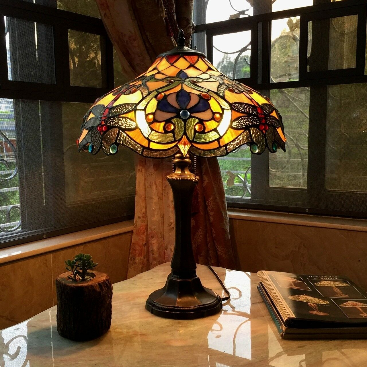 Green Art Nouveau Tiffany Adjustable Desk Lamp For Sale Online Ebay